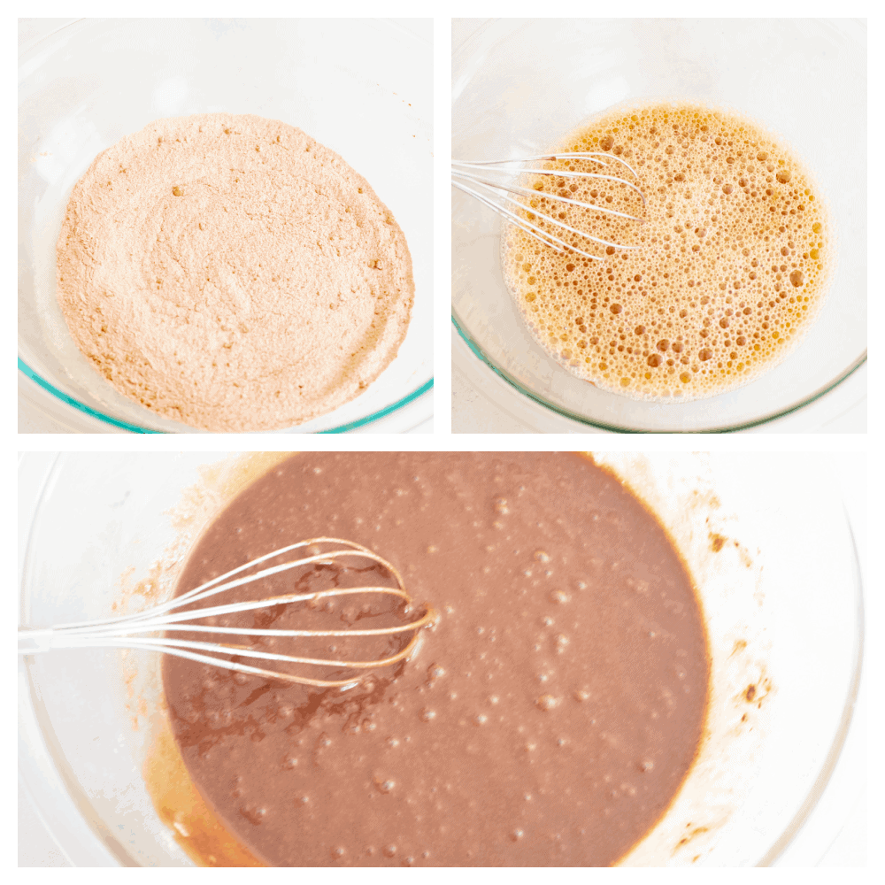 3 pictures showing how to whisk ingredients together.