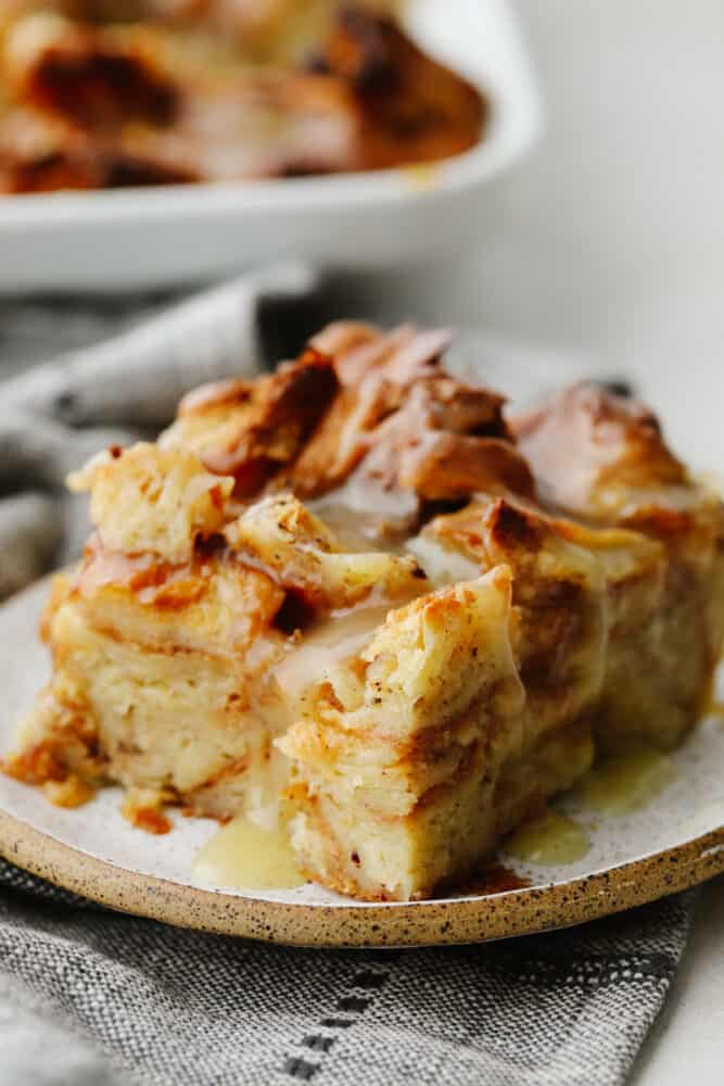 A slice of croissant bread pudding.