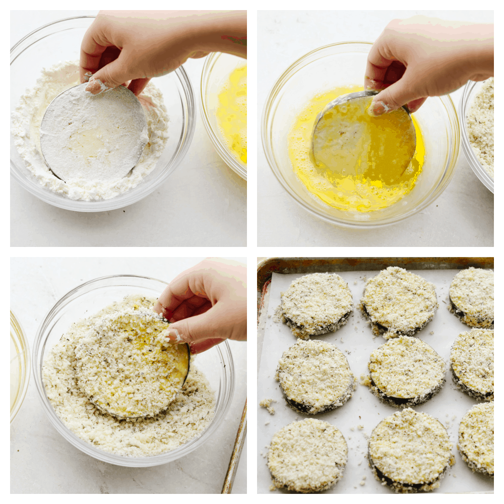 4 pictures showing how to properly coat eggplant.