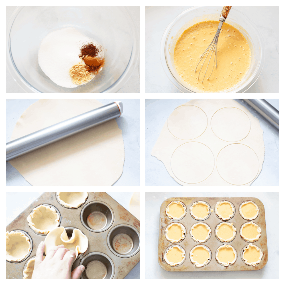 6 pictures showing step by step baking instructions.