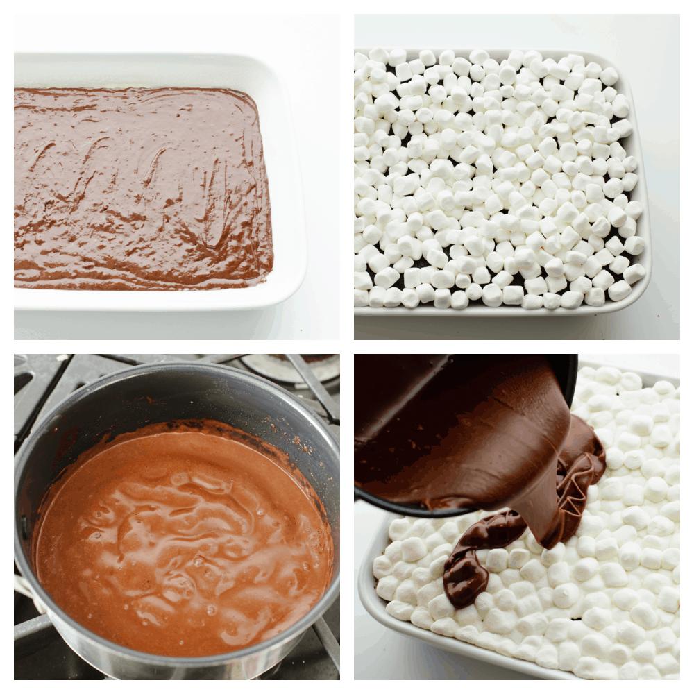 The process shots of making mudslide cake.
