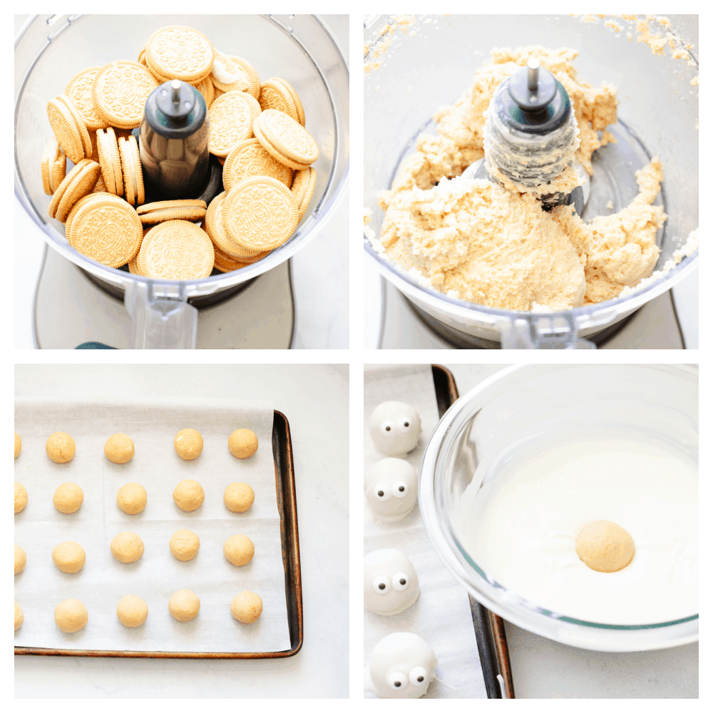 4 step by step pictures showing how to mix up the oreo truffles and dip them.