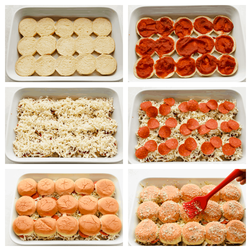 Process shots of preparing sliders and adding toppings.
