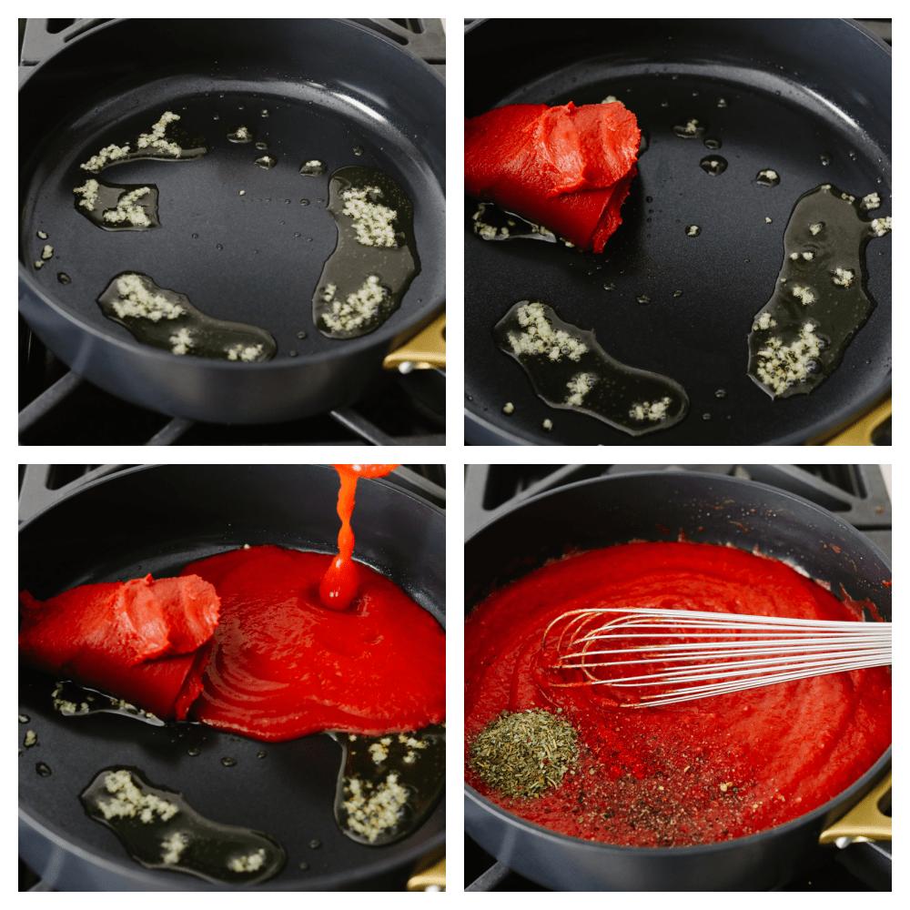 Process shots of adding tomato paste, garlic, and seasonings into a saucepan.
