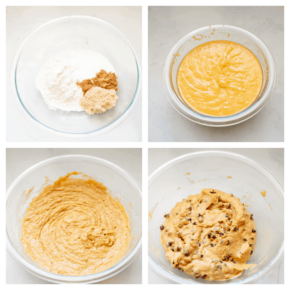 The process shots of how to make pumpkin chocolate chip muffins.