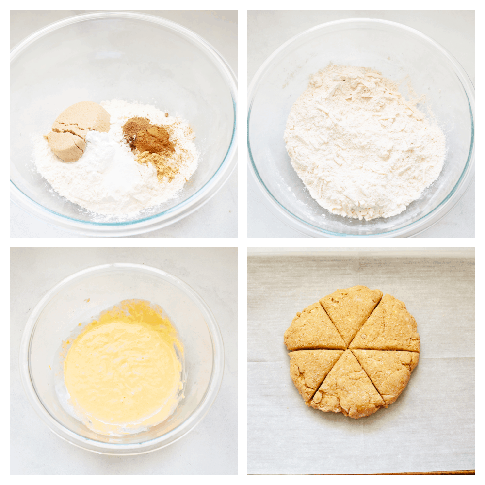 4 pictures showing how to make pumpkin scone dough.