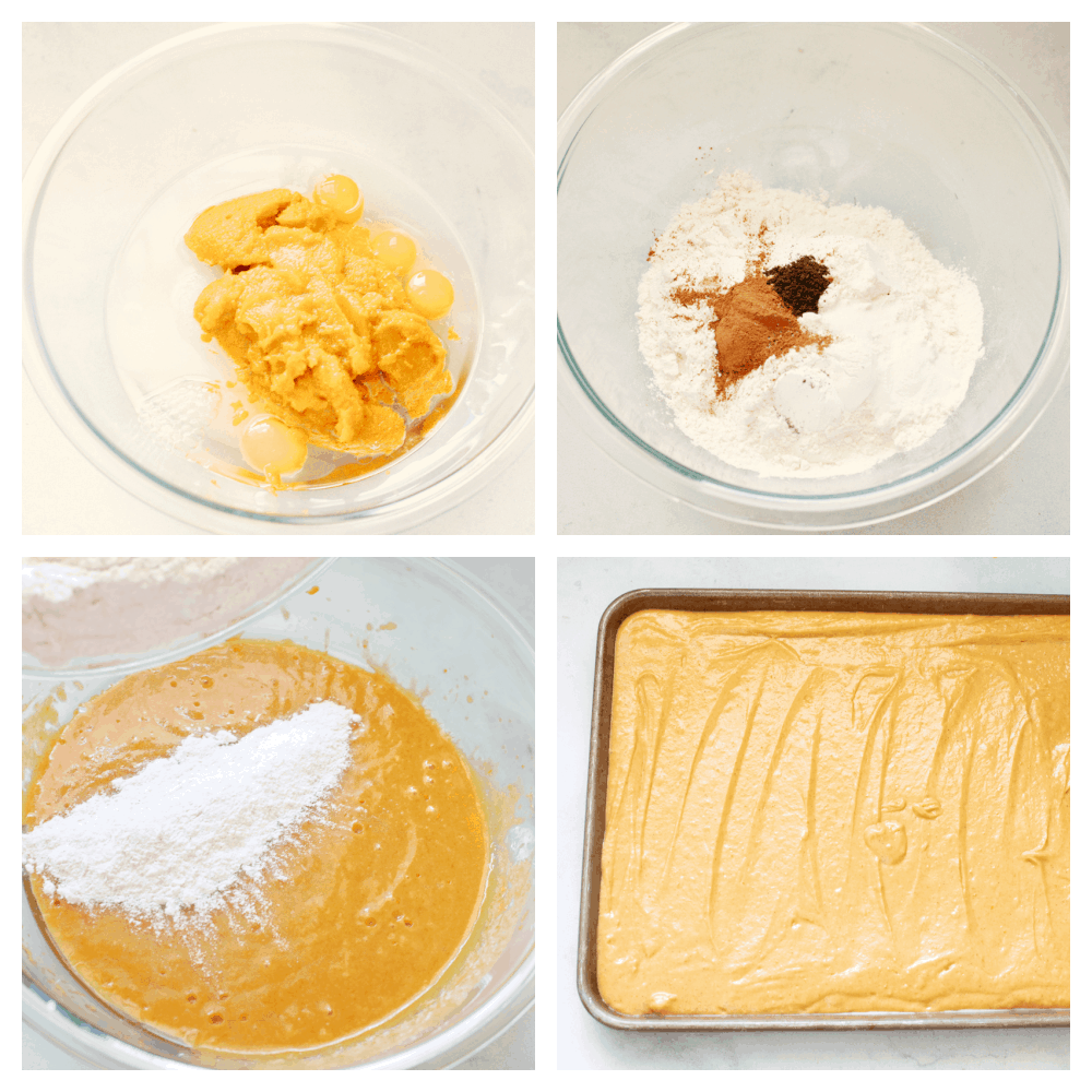 4 images showing how to mix and ice a pumpkin spice sheet cake.
