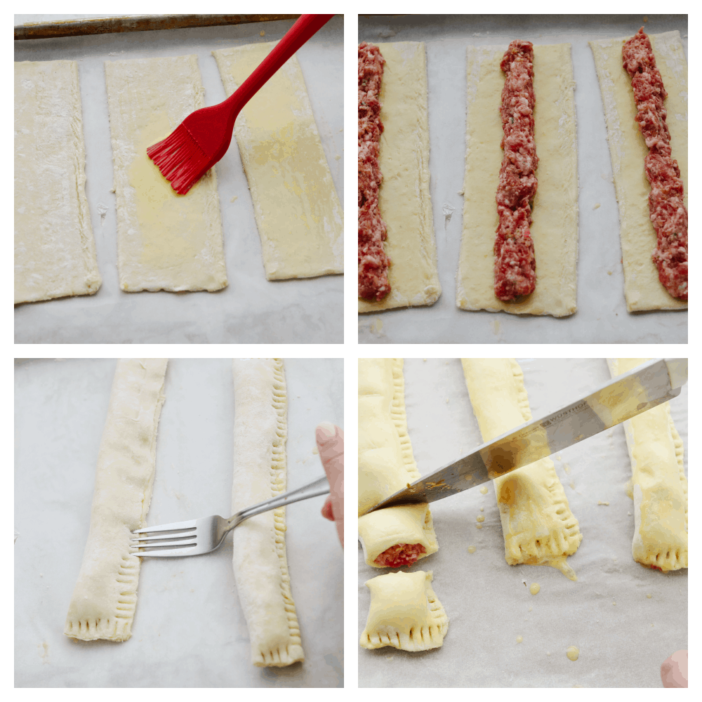 4 pictures showing how to make sausage rolls.