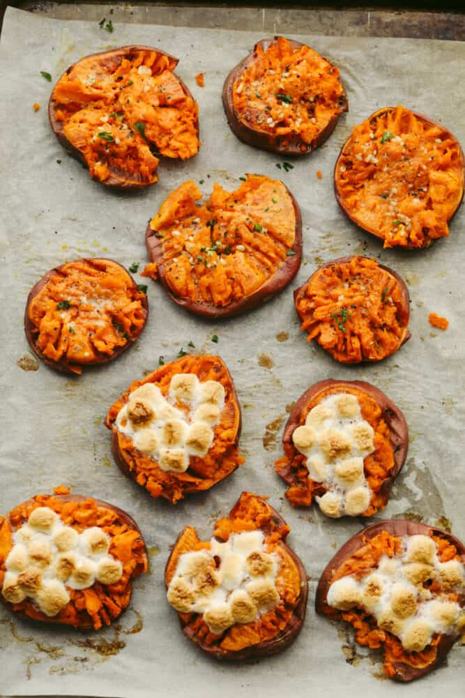 Smashed sweet potatoes that are savory and sweet.