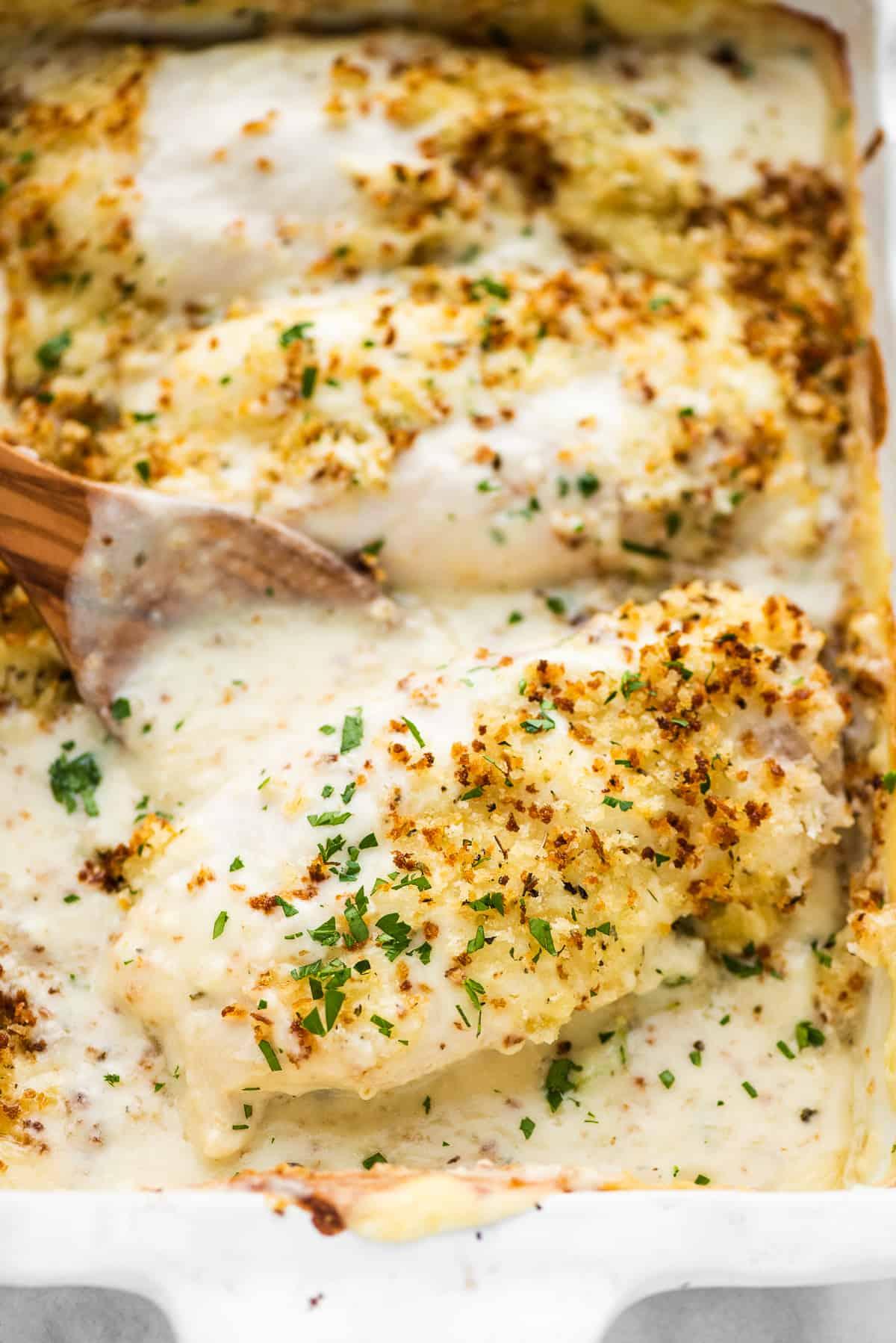 Swiss chicken baked in a casserole dish.
