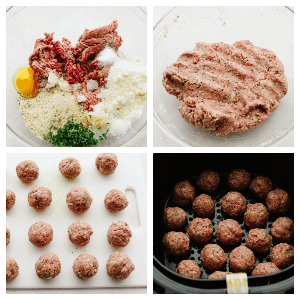 4 pictures showing steps on how to make meatballs.