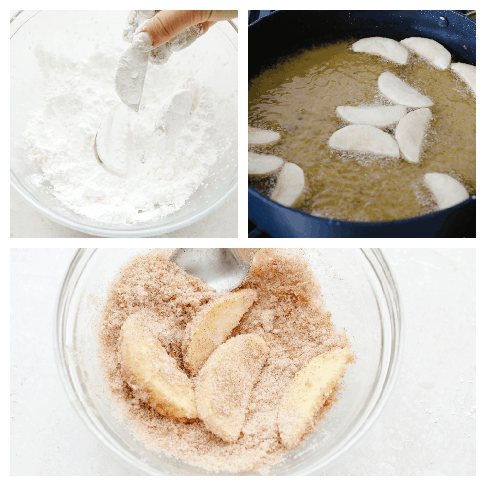 Process shots of frying apples and coating in cinnamon sugar.