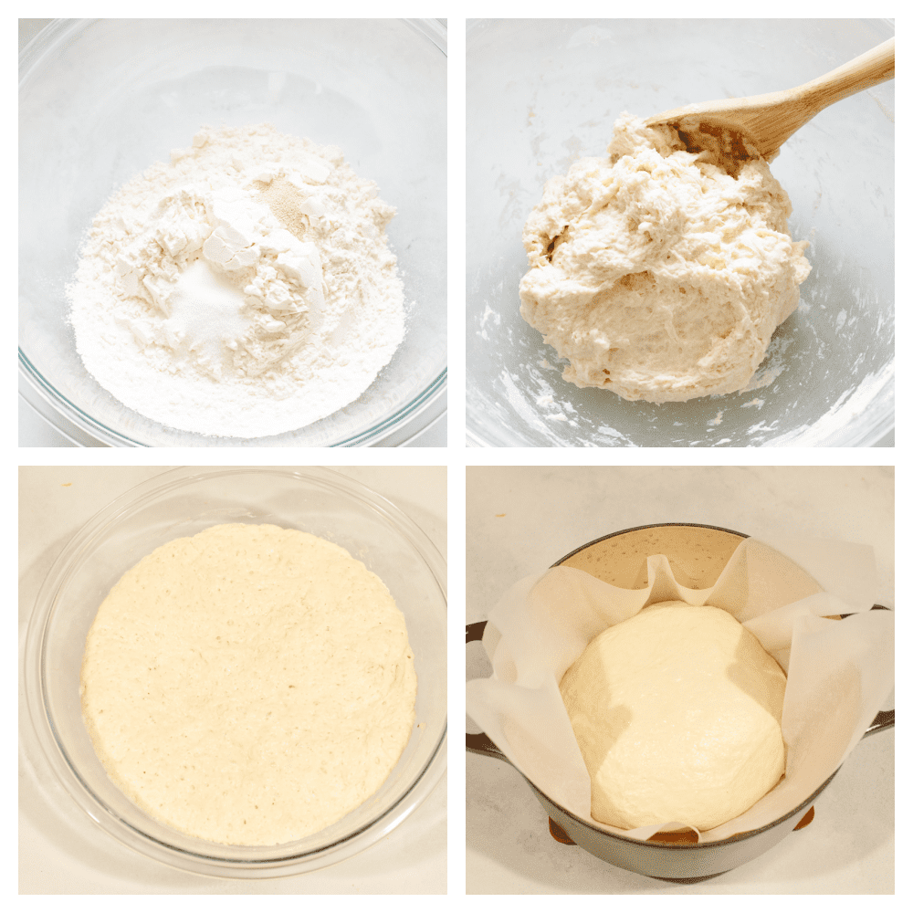 4 step by step pictures showing how to make bread dough.