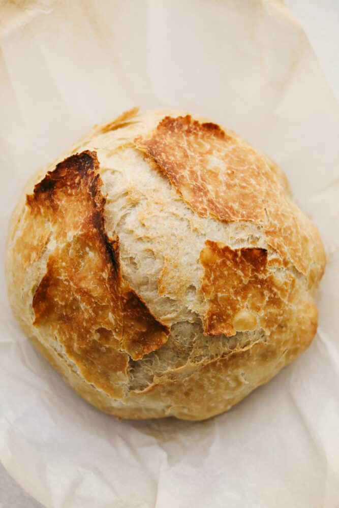 A loaf of no knead bread.