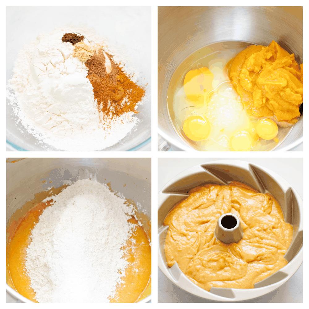 Steps showing how to make pumpkin bundt cake.